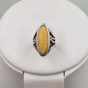 Jewelry - Vintage Sterling Silver Wood Cabochon Stone Ring